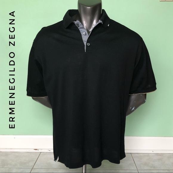 b78cbc47 XXL Ermenegildo Zegna Black Cream Polo Tee EUC